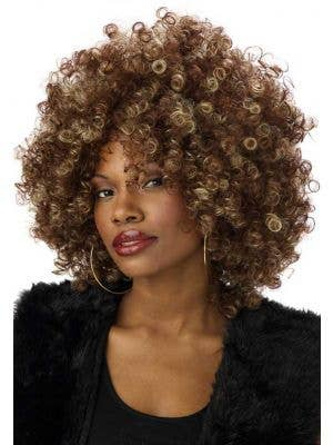 Curly Brown Afro Wig with Blonde Streaks