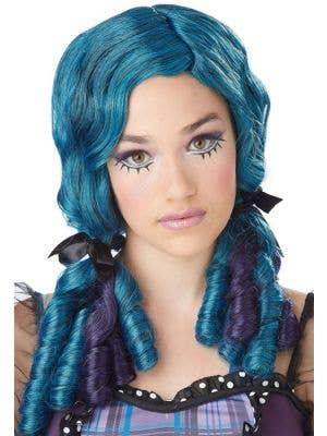Doll Curls Women's Blue and Purple Wig