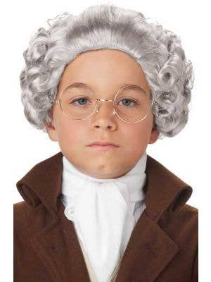 Boys Curly Grey Colonial Costume Wig