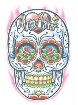 Day Of The Dead Sugar Skull Temporary Tattoo