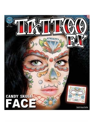Day Of The Dead Sugar Skull Temporary Tattoo Makeup Main Image