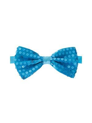 Light Blue Satin Bow Tie with Sequins Main Image