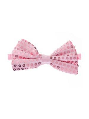 Pale Pink Satin Bow Tie with Sequins Main Image