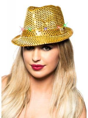 Light Up Sequined Fedora Costume Hat - Gold