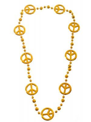 Peace Sign Gold 1970's Costume Necklace