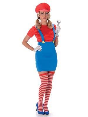 Women's Sexy Mario Fancy Dress Costume Main Image