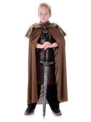 Brown Fur Kids Medieval Costume Cape Main Image