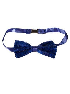 Dark Blue Satin Bow Tie with Sequins Main Image