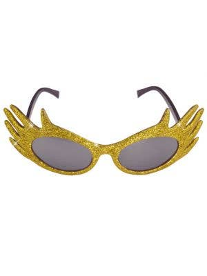 Dame Edna Gold Glitter Glasses