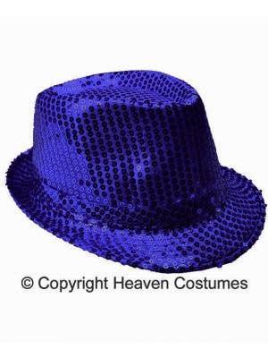 Sequined Blue 1920's Fedora Costume Hat