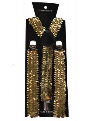 Sequinned Costume Suspenders in Gold