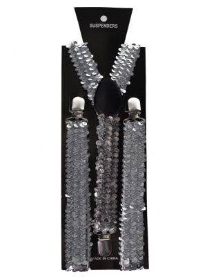 Sequinned Costume Suspenders in Silver