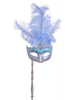 Pale Blue Hand Held Feather Masquerade Mask Main Image