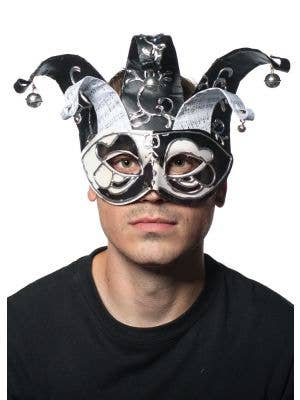Musical Jester Mask in Black and White