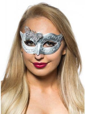 Butterfly Venetian Mask in White and Silver