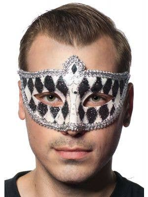 Harlequin Glitter Venetian Masquerade Mask - Black and White