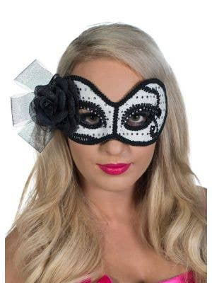 White, Black and Silver Glittering Rose Masquerade Mask View 2