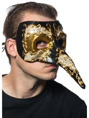 Long Nose Men's Venetian Mask with Music Notes
