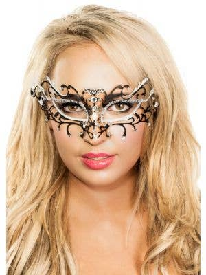 Antique Deluxe Metal Masquerade Mask - Black