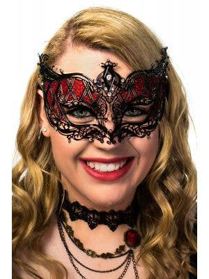 Women's Deluxe Harlequin Black and Red Metal Masquerade Mask View 1