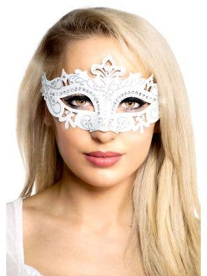 Cut Out Masquerade Mask with Rhinestones - White