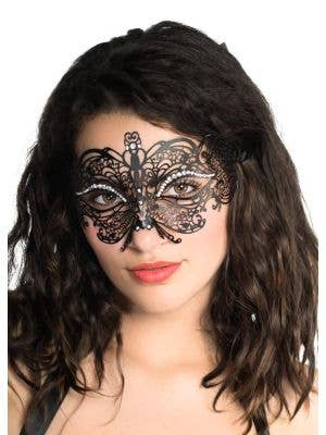 Princess Matte Black Metal Masquerade Mask