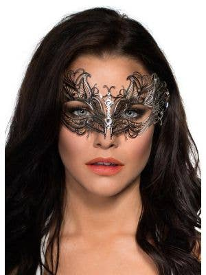 Antique Fossils Lightweight Silver Metal Masquerade Mask