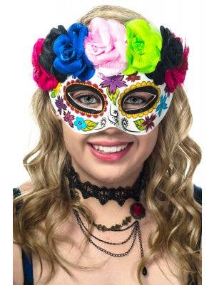 Women's Day of the Dead Rainbow Flowers Sugar Skull Masquerade Mask