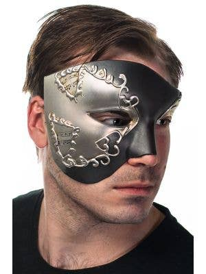Men's Silver and Black Over Eye Masquerade Mask Side View 1
