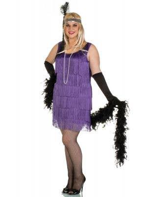 Plus Size Women's Short Purple Flapper Costume Front View