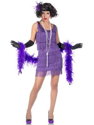 Short Purple 1920's Women's Flapper Fancy Dress Front View