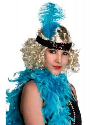 Black Sequinned Flapper Headband With Large Turquoise Feather View 1