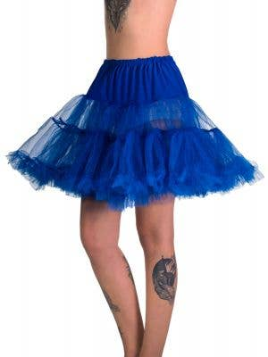 Women's Royal Blue Fluffy Thigh Length Costume Petticoat