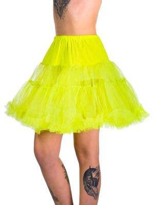 Women's Neon Yellow Thigh Length Fluffy Costume Petticoat