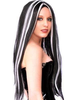 Long Black Halloween Wig With White Sreaks