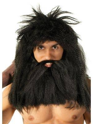 Prehistoric Caveman Black Wig and Beard Set