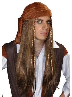 Men's Beaded Pirate Wig with Bandana