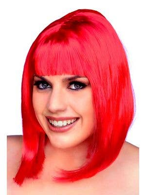 Women's Flame Red 1960's Mod Bob Costume Wig