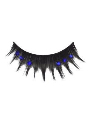 Jagged Black Costume Eyelashes With Blue Diamante's Main