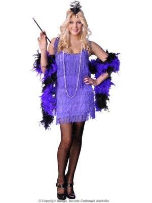 Women's Purple Great Gatsby Flapper Fancy Dress Front View