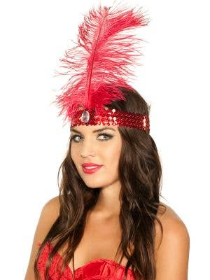 Tall Red Feather and Sequins 1920's Flapper Costume Headband View 1