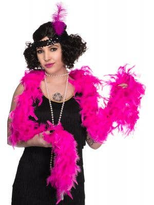 Hot Pink Feather Boa Costume Accessory View 1