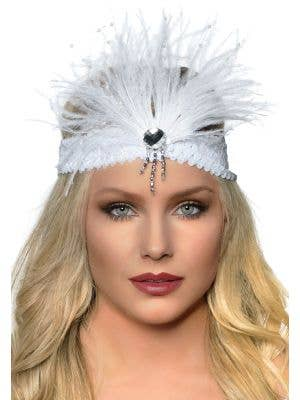 Gatsby Soft White Feather Flapper Headband