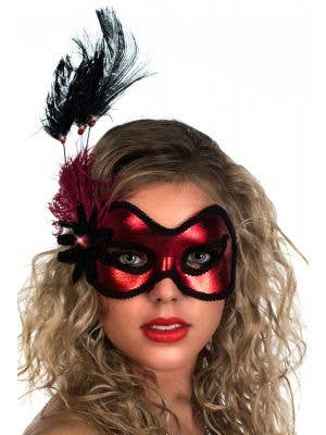 Metallic Red Vinyl and Black Feather Masquerade Mask View 2