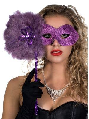 Glitter Swirls Hand Held Mask in Purple