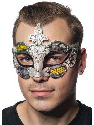 Men-s Black and Crackle Paint Renaissance Style Masquerade Mask View 1