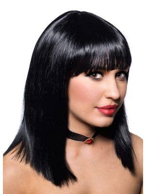 Deluxe Realistic Looking Long Blunt Bob Wig in Black - Side
