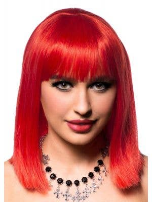 Realistic Deep Red Long Bob Fashion Wig -  Front View