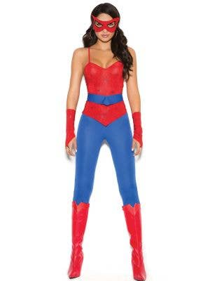 Women's Sexy Spidergirl Catsuit Fancy Dress Costume Front