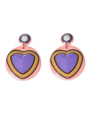 60's Mod Heart Retro Drop Costume Earrings